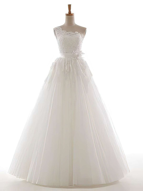 One Shoulder Ball Gown Floor-length Tulle Appliques Lace Wedding Dresses #DOB00021305