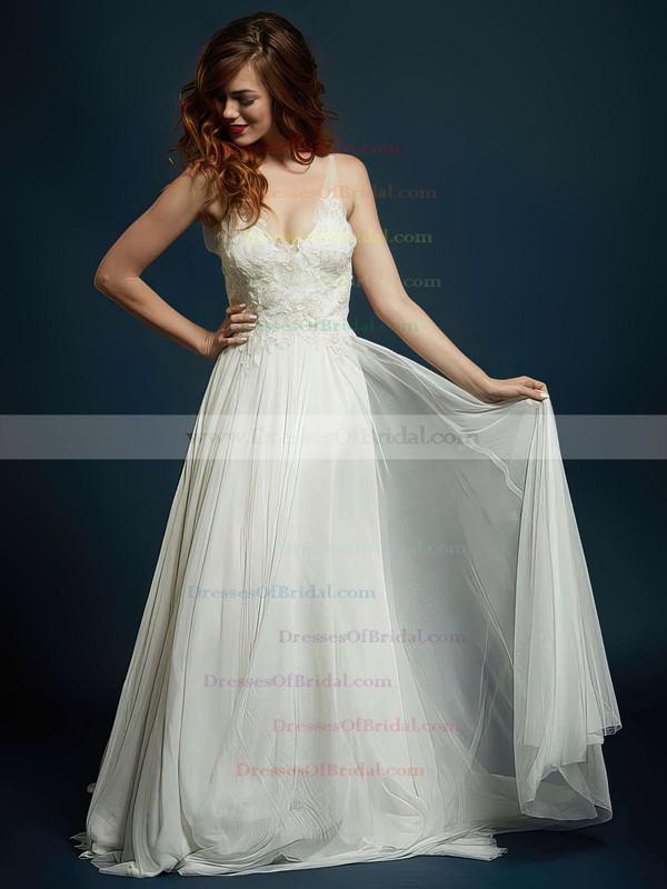 V-neck A-line Sweep Train Chiffon Tulle Beading Wedding Dresses #DOB00021327