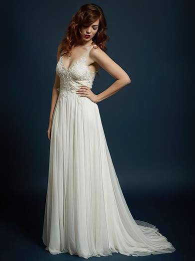 V-neck A-line Sweep Train Chiffon Tulle Beading Wedding Dresses #DOB00021327