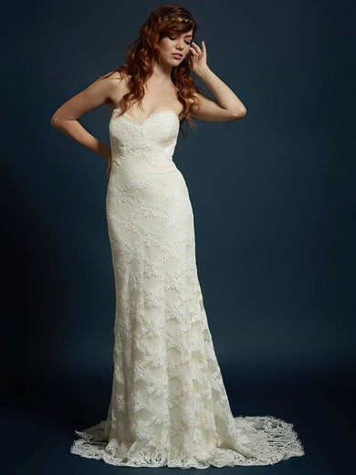 Sweetheart Trumpet/Mermaid Sweep Train Lace Flower(s) Wedding Dresses #DOB00021328