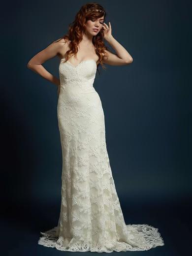 Sweetheart Trumpet/Mermaid Sweep Train Lace Flower(s) Wedding Dresses #DOB00021328