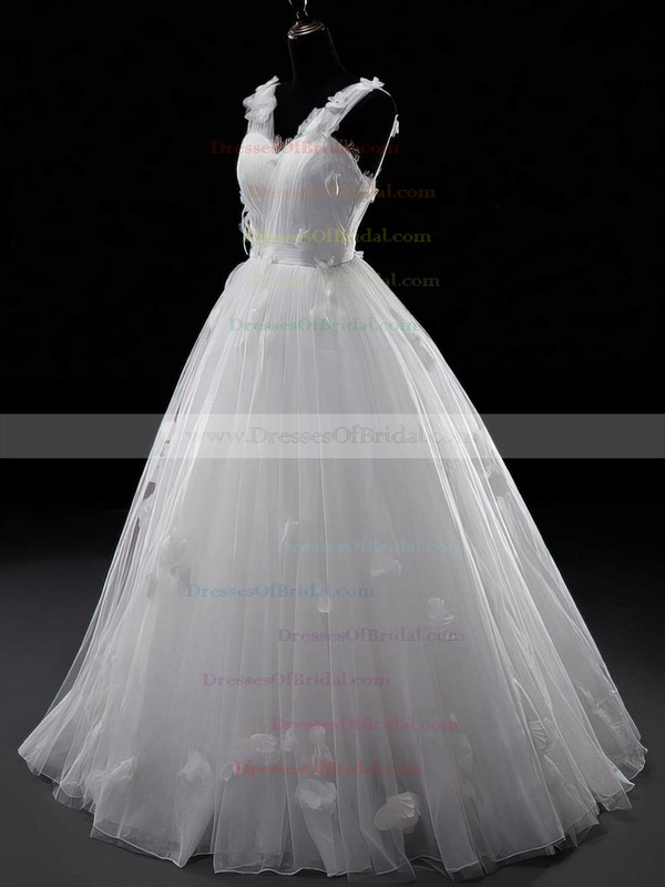 V-neck Ball Gown Sweep Train Tulle Appliques Lace Wedding Dresses #DOB00021329