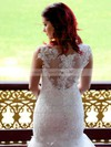Scoop Neck Trumpet/Mermaid Chapel Train Lace Tulle Appliques Lace Wedding Dresses #DOB00021340