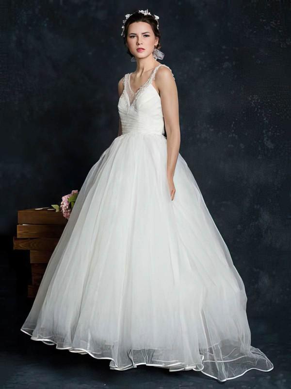 V-neck Ball Gown Court Train Tulle Beading Wedding Dresses #DOB00021345