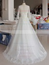 Scoop Neck Ball Gown Sweep Train Lace Tulle Appliques Lace Wedding Dresses #DOB00021346