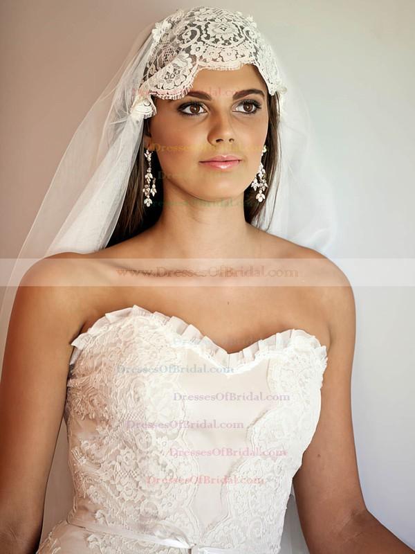 Sweetheart Trumpet/Mermaid Chapel Train Lace Chiffon Elastic Woven Satin Sashes / Ribbons Wedding Dresses #DOB00021347