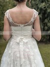 Scoop Neck Ball Gown Sweep Train Lace Sashes / Ribbons Wedding Dresses #DOB00021349