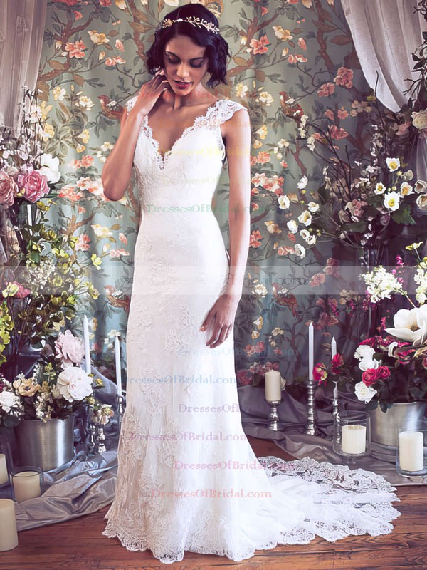 V-neck Trumpet/Mermaid Court Train Lace Flower(s) Wedding Dresses #DOB00021351