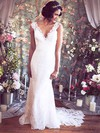 V-neck Trumpet/Mermaid Court Train Lace Flower(s) Wedding Dresses #DOB00021351