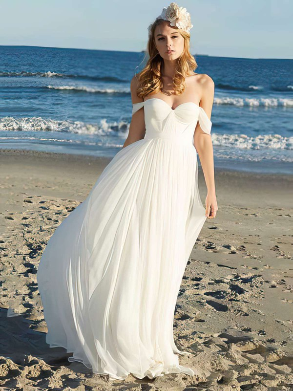 Off-the-shoulder A-line Floor-length Chiffon Ruffles Wedding Dresses #DOB00021352