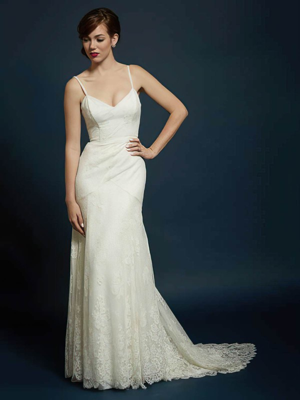 Sweetheart Trumpet/Mermaid Sweep Train Lace Tulle Appliques Lace Wedding Dresses #DOB00021353