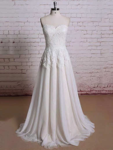 Sweetheart Ball Gown Sweep Train Lace Chiffon Ruffles Wedding Dresses #DOB00021354