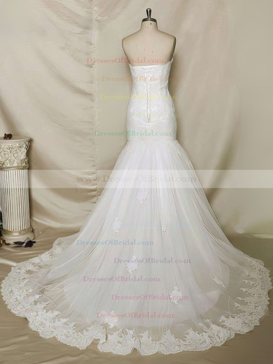 Sweetheart Trumpet/Mermaid Chapel Train Lace Tulle Appliques Lace Wedding Dresses #DOB00021356