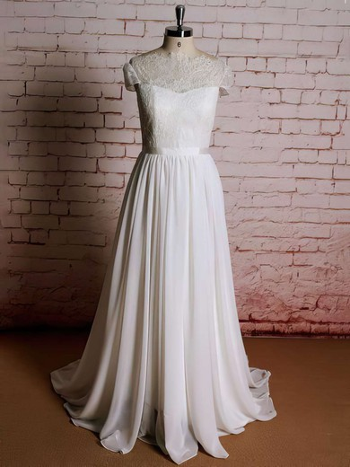 Scoop Neck A-line Sweep Train Lace Chiffon Ruffles Wedding Dresses #DOB00021357