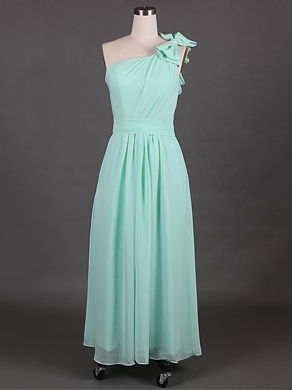 Wholesale Chiffon with Bow One Shoulder A-line Bridesmaid Dress #DOB01012385
