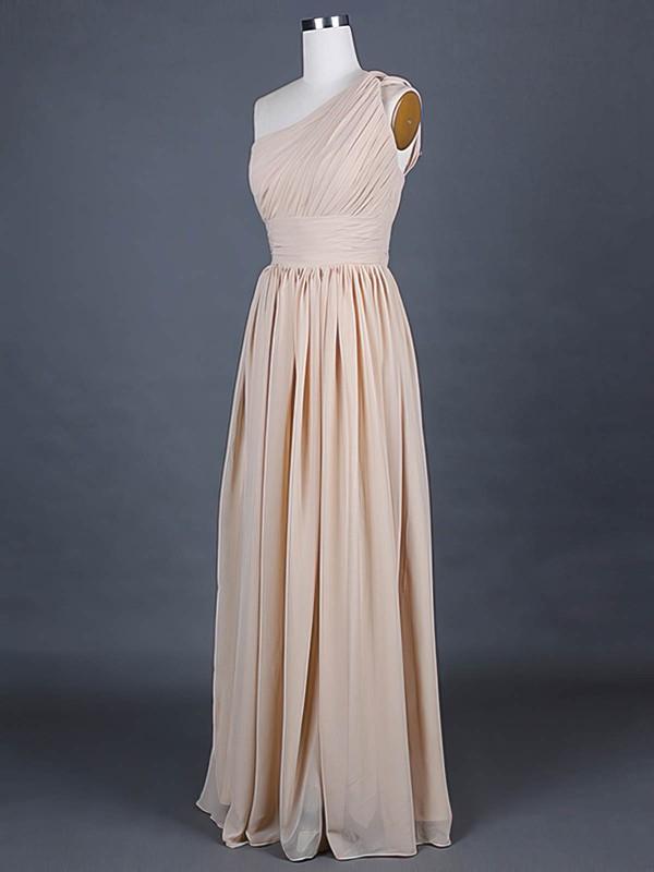 One Shoulder A-line Floor-length Chiffon Ruffles Bridesmaid Dresses #DOB01012386