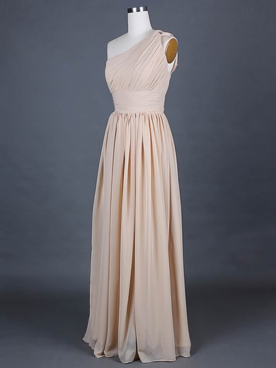 One Shoulder A-line Floor-length Chiffon Ruffles Bridesmaid Dresses #DOB01012386