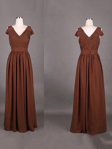 V-neck A-line Floor-length Chiffon Ruffles Bridesmaid Dresses #DOB01012387