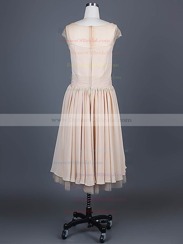 Scoop Neck A-line Knee-length Chiffon Ruffles Bridesmaid Dresses #DOB01012388