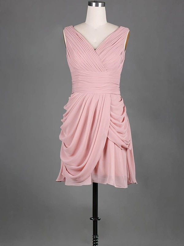 Short/Mini V-neck Chiffon Pleats Simple Pink Bridesmaid Dress #DOB01012389