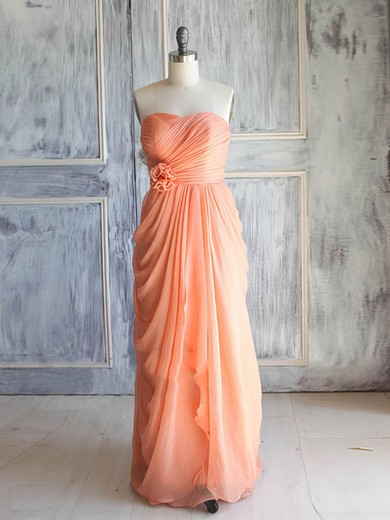 Different Chiffon with Flower(s) Sweetheart Lace-up Orange Bridesmaid Dress #DOB01012392
