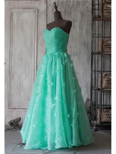 Strapless A-line Tea-length Organza Flower(s) Bridesmaid Dresses #DOB01012394