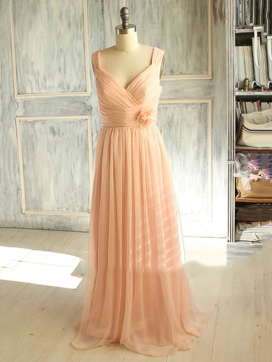 Popular A-line V-neck Chiffon with Flower(s) Pink Bridesmaid Dress #DOB01012398