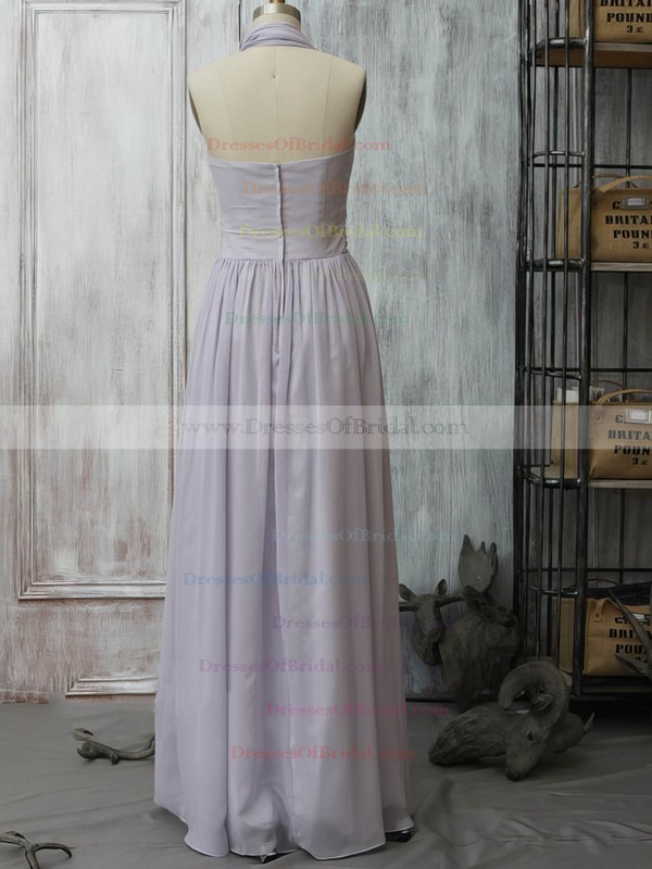 A-line Lavender Chiffon with Ruffles Informal Halter Bridesmaid Dress #DOB01012399