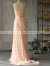 Hot Pink Chiffon with Flower(s) Sweep Train Sweetheart Bridesmaid Dress #DOB01012400