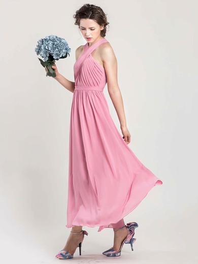 Ankle-length Halter Chiffon Open Back Nice Pink Bridesmaid Dress #DOB01012402