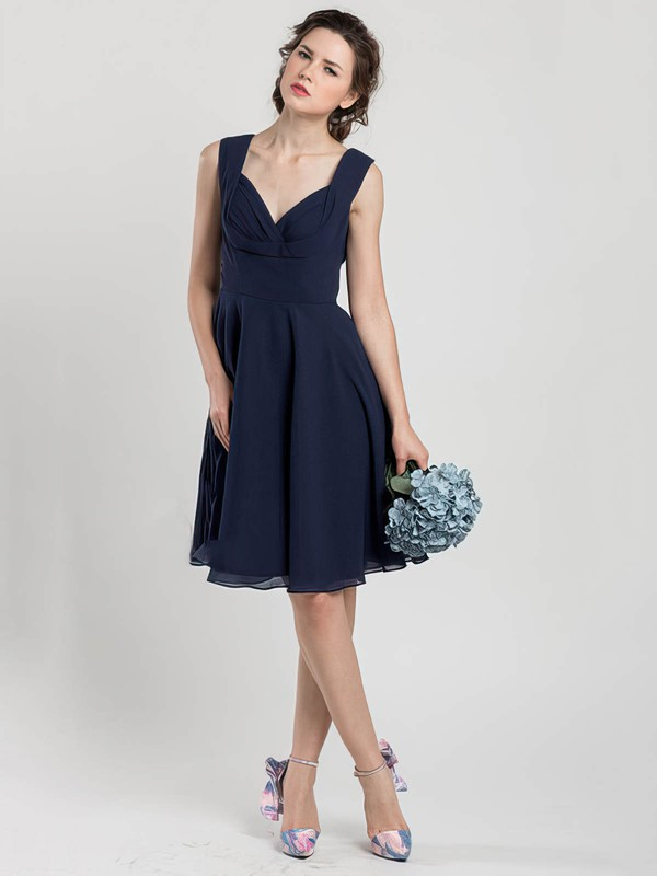Great V-neck Dark Navy Chiffon Ruffles Knee-length Bridesmaid Dress #DOB01012403