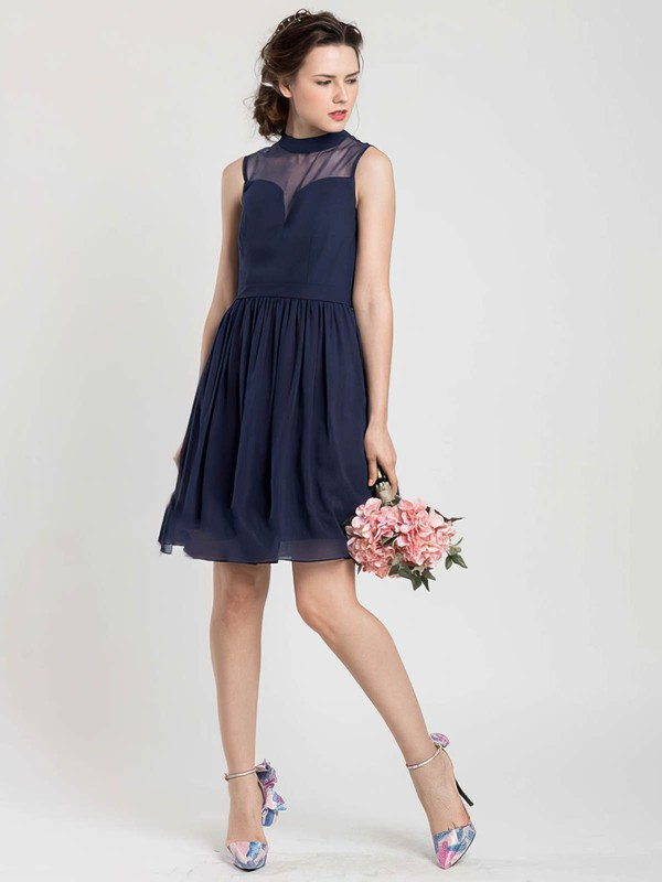 High Neck Chiffon Tulle Good Short/Mini Dark Navy Bridesmaid Dress #DOB01012404