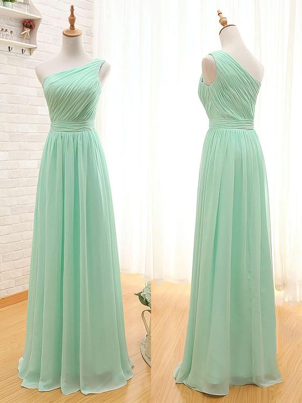 Wholesale One Shoulder Sage Chiffon Ruffles Floor-length Bridesmaid Dresses #DOB01012405