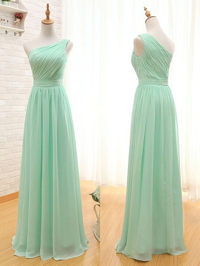Wholesale One Shoulder Sage Chiffon Ruffles Floor-length Bridesmaid Dresses #DOB01012405