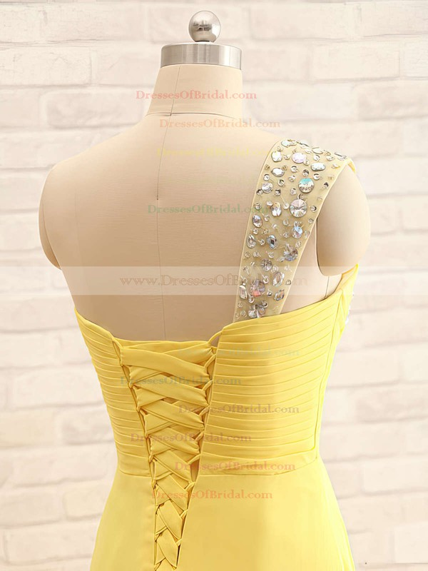 A-line One Shoulder Yellow Chiffon with Crystal Detailing Pretty Bridesmaid Dresses #DOB01012406