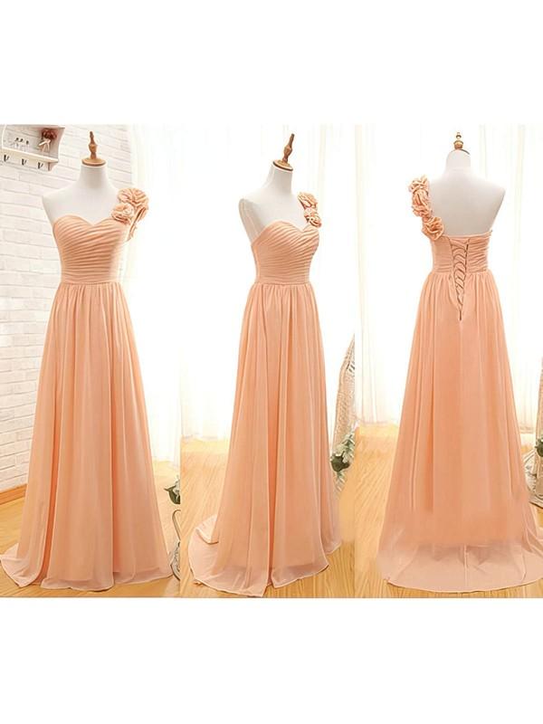 Interesting Chiffon with Flower(s) One Shoulder Floor-length Bridesmaid Dresses #DOB01012408