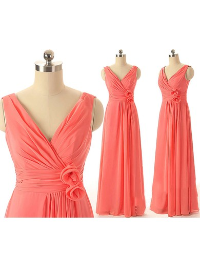 V-neck Chiffon with Flower(s) Inexpensive A-line Watermelon Bridesmaid Dresses #DOB01012409