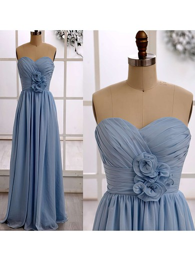 Latest Sweetheart Chiffon Ruffles Floor-length Light Sky Blue Bridesmaid Dresses #DOB01012415