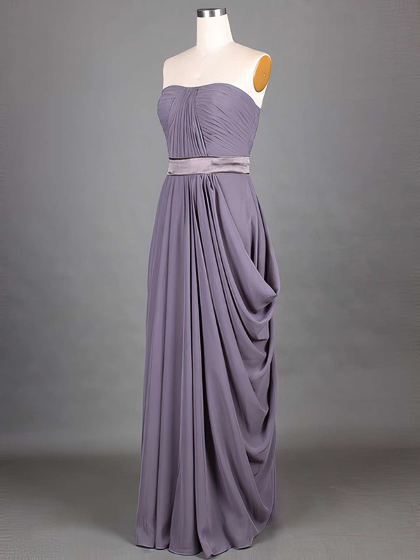 Exclusive Chiffon Sashes/Ribbons Strapless Grape A-line Bridesmaid Dresses #DOB01012417