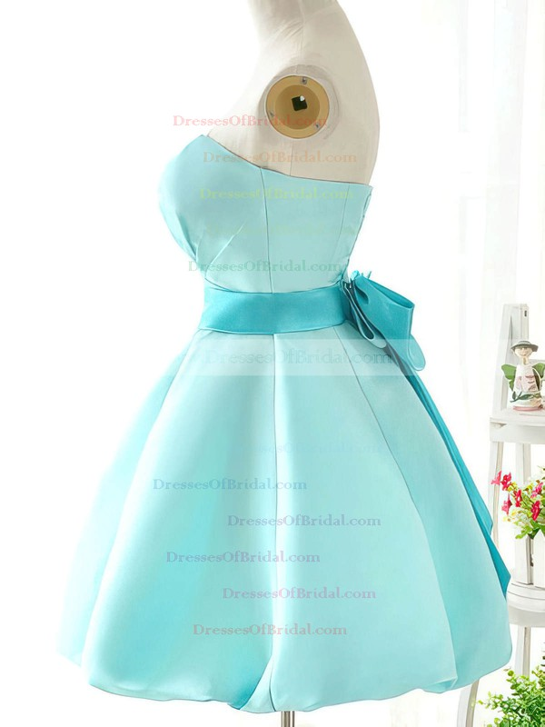 Strapless Blue Satin with Sashes/Ribbons Original Short/Mini Bridesmaid Dresses #DOB01012419