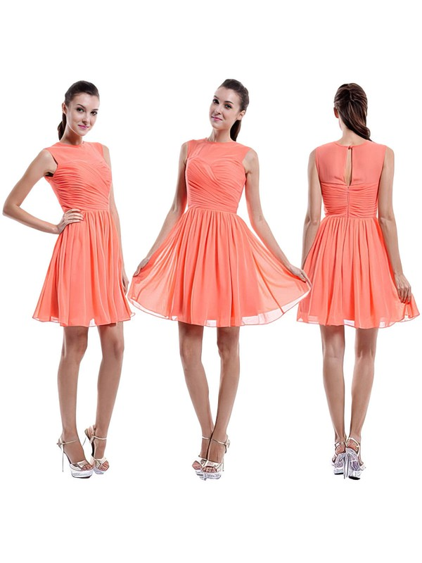 Gorgeous Scoop Neck Orange Chiffon Ruffles Short/Mini Bridesmaid Dress #DOB01012421