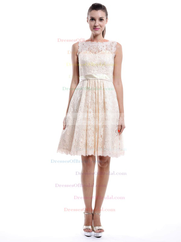 Ivory Scoop Neck Lace Sashes/Ribbons Ladies Knee-length Bridesmaid Dress #DOB01012422