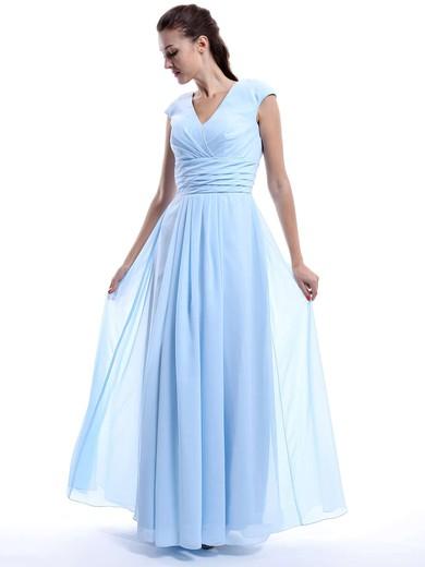 Nicest A-line Chiffon Cap Straps Ruffles V-neck Light Sky Blue Bridesmaid Dress #DOB01012423
