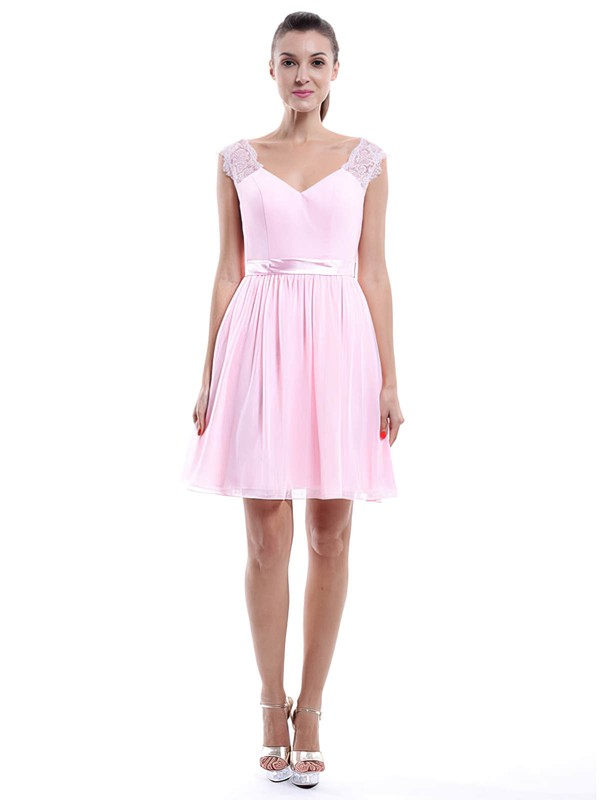 V-neck Pearl Pink Chiffon Lace A-line Modest Bridesmaid Dress #DOB01012424
