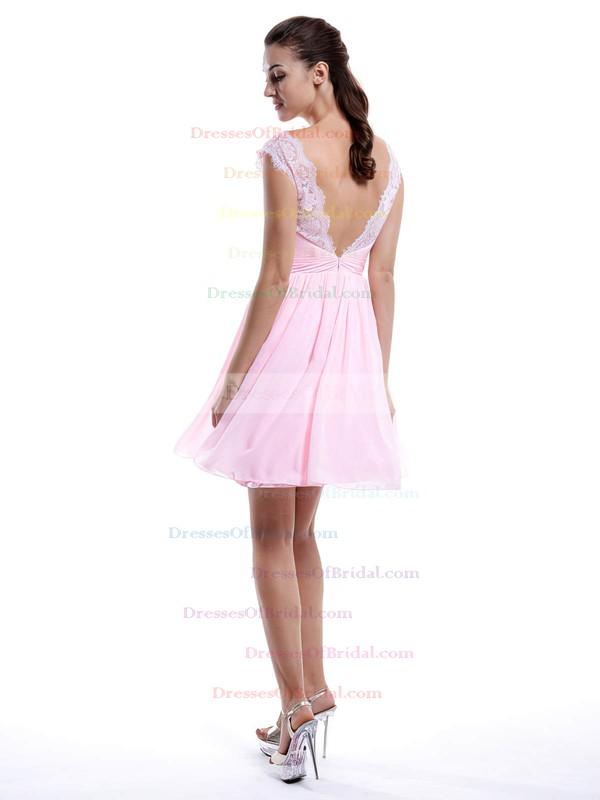 V-neck Pearl Pink Chiffon Lace A-line Modest Bridesmaid Dress #DOB01012424