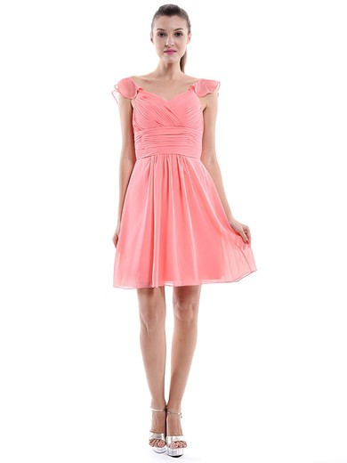 Designer Sweetheart Chiffon Ruffles Short/Mini Watermelon Bridesmaid Dress #DOB01012426