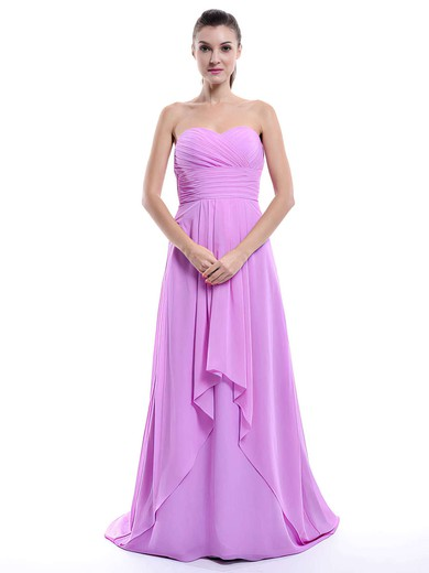 Best Sweep Train Chiffon with Ruffles Sweetheart Lilac Bridesmaid Dress #DOB01012429