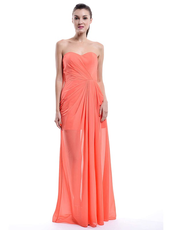 Discount Floor-length Chiffon with Ruffles Orange Sweetheart Bridesmaid Dress #DOB01012430