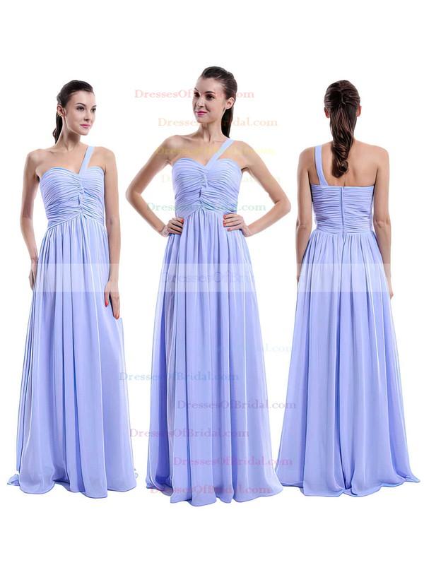Lilac Chiffon Ruffles Elegant One Shoulder A-line Bridesmaid Dress #DOB01012431