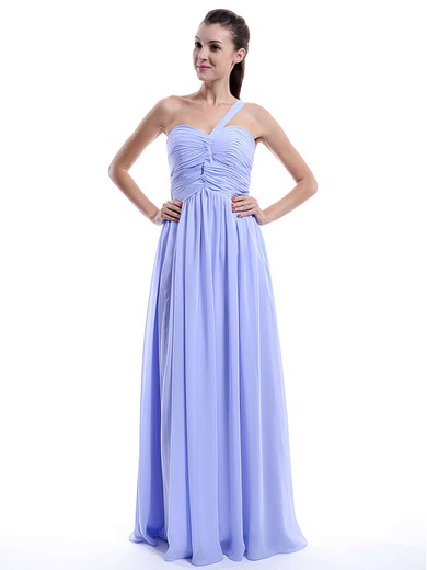 Lilac Chiffon Ruffles Elegant One Shoulder A-line Bridesmaid Dress #DOB01012431